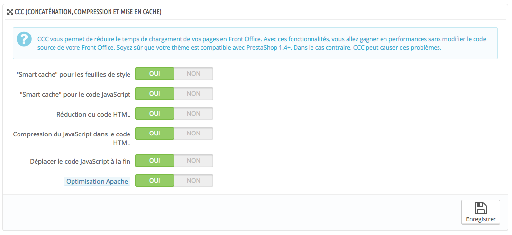 Optimiser le cache Prestashop CCC